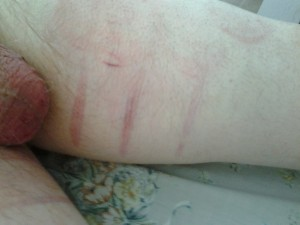 There had to be some strapping, and caning the insides of his thighs...it was TERRIBLE !!! :D